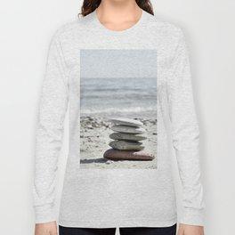 Balancing Stones On The Beach Long Sleeve T-shirt