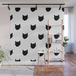 Black and white cat pattern Wall Mural
