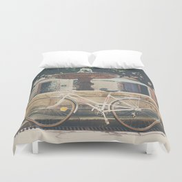 cycling across France on this pretty white bicycle Duvet Cover