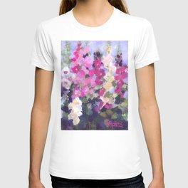 Pink Hollyhocks in My Garden T-shirt