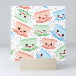 Cute blue pink green Kawai cup, coffee tea with pink cheeks and winking eyes, polka dot background Mini Art Print