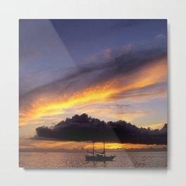 Tahiti Tropical Sunset over Sailboat Metal Print