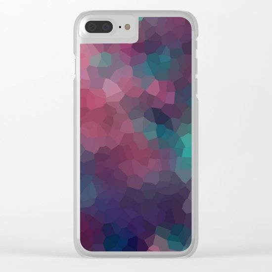 Abstract pattern blue raspberry and turquoise crystals . Clear iPhone Case