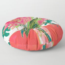 Tropical Lily Bouquet with Matisse Cutout Inspired Background Floral Still Life Painting Floor Pillow