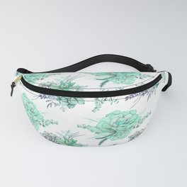 Succulents Mint Green Lavender Lilac Violet Pattern Fanny Pack