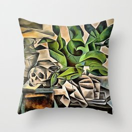 Still life with Skull After Bohumil Kubista Throw Pillow