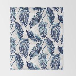 "Blue palm leaves pattern ""Pamela"" Throw Blanket"
