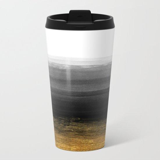 Black and Gold grunge stripes on clear white backround I - Stripe- Striped Metal Travel Mug
