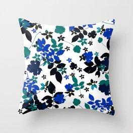 cobalt leaves Throw Pillow