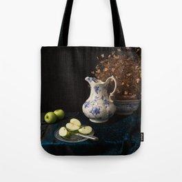 Green apples and china still life Tote Bag