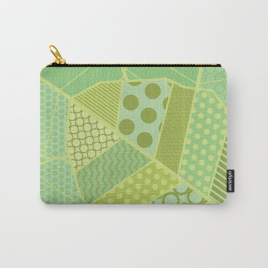 The Unique One (Green Patterned Leaf Patchwork) Carry-All Pouch