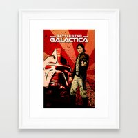 battlestar Framed Art Prints featuring Battlestar Galactica by TidalWave Productions