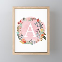 Flower Wreath with Personalized Monogram Initial Letter A on Pink Watercolor Paper Texture Artwork Framed Mini Art Print