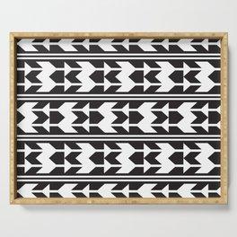 Haida Arrows Aztec Style Black White Serving Tray