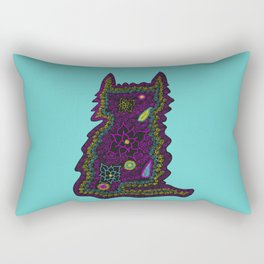 Black Cat With Roses Rectangular Pillow