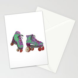 Lime Spotted Roller Skates Stationery Cards