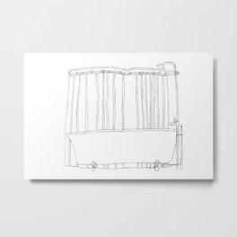 Bath In White Metal Print