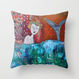 Mermaid's Day Off Throw Pillow