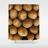 potato Shower Curtains featuring Potato Potato by MeatSteed