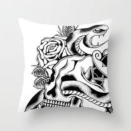Skull Vs Snake  Throw Pillow