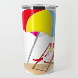 Space Odyssey   Astronaut Lounging at the Beach   Sea Side   Space   Umbrella   pulps of wood Travel Mug