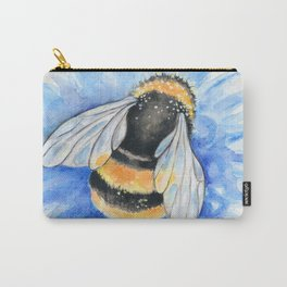 Bumble Bee Blue Flower Watercolor Art Carry-All Pouch