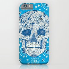 Human skull with hand- drawn flowers, butterflies, floral and geometrical patterns Slim Case iPhone 6s