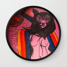 Woman and Bear  Wall Clock