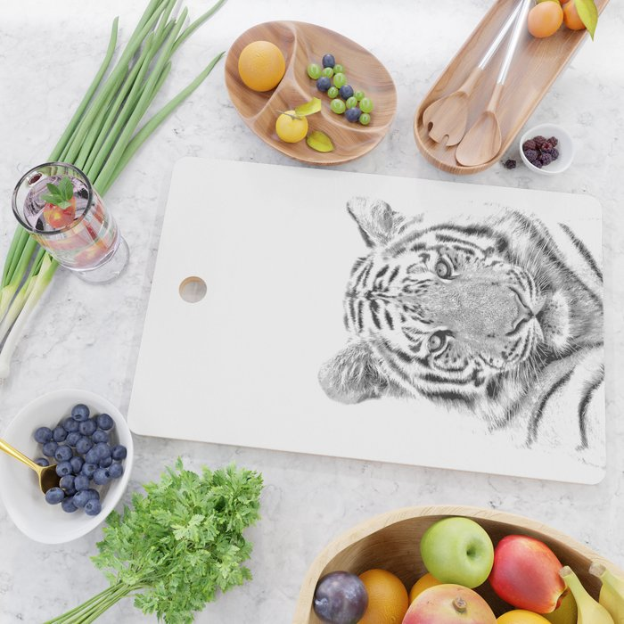 Black and white tiger Cutting Board