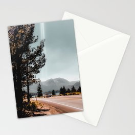 road with mountain and blue sky view at Mammoth Lakes California USA Stationery Cards