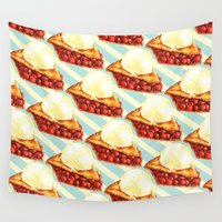 pie Wall Tapestries featuring Cherry Pie Pattern by Kelly Gilleran