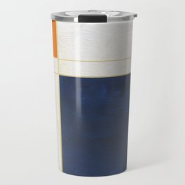 Orange, Blue And White With Golden Lines Abstract Painting Travel Mug