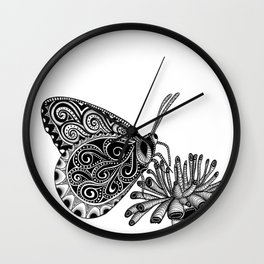 Tangled Butterfly on White Wall Clock