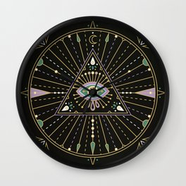 Evil Eye Mandala – Black Wall Clock