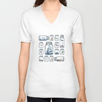 plane V-neck T-shirts featuring Vintage Preservation by Paula Belle Flores