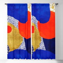 Terrazzo galaxy blue night yellow gold orange Blackout Curtain