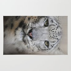 Stare Of The Snow Leopard Rug