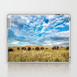 Grazing - Bison Graze Under Big Sky on Oklahoma Prairie Laptop & iPad Skin
