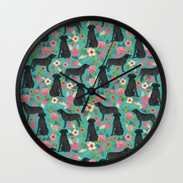 Black Labrador Retriever dog floral gifts must haves black lab lover Wall Clock