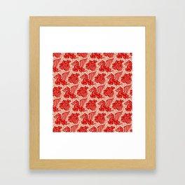 Pegasus Pattern Beige and Red Framed Art Print