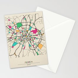 Colorful City Maps: Munich, Germany Stationery Cards