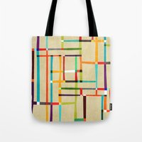 mondrian Tote Bags featuring The map (after Mondrian) by Picomodi