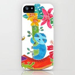 Sloth with papaya iPhone Case
