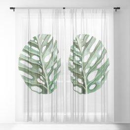 Circular Monstera Leaf Painting Sheer Curtain
