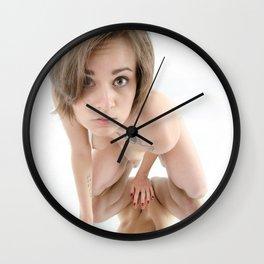 9360-KMA Brown Eyed Girl Kneeling Nude on Mirror Wall Clock