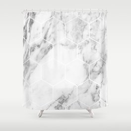 White marble hexagonal beehive Shower Curtain