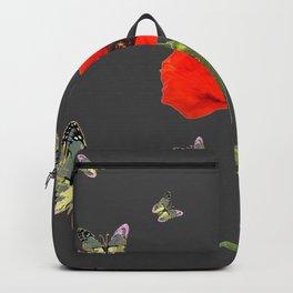 RED POPPY FLOWER & GREY BUTTERFLIES Backpack