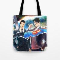heroes Tote Bags featuring Heroes by Hai-ning