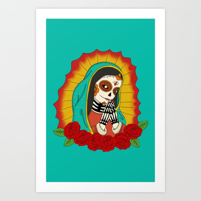 Virgin de Guadalupe Sugar Skull Art Print