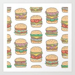 Hamburgers Junk Food Fast food on White Art Print